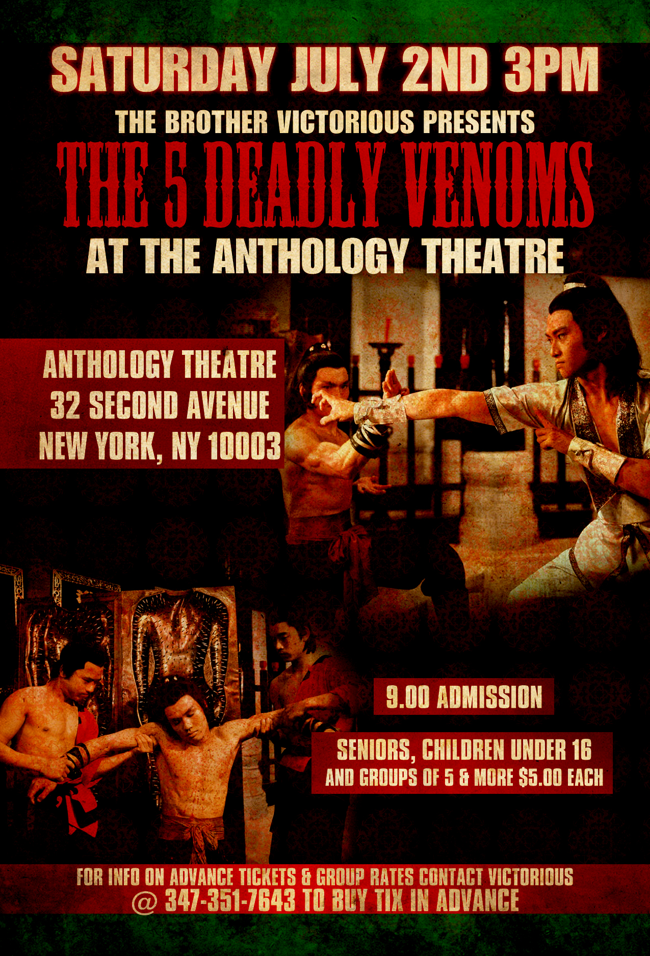 DJ Victorious presents The 5 Deadly Venoms (movie) in a NYC Theatre!