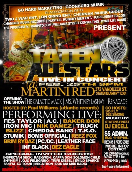 Staten Island All-Stars In Concert + video interviews and freestyles